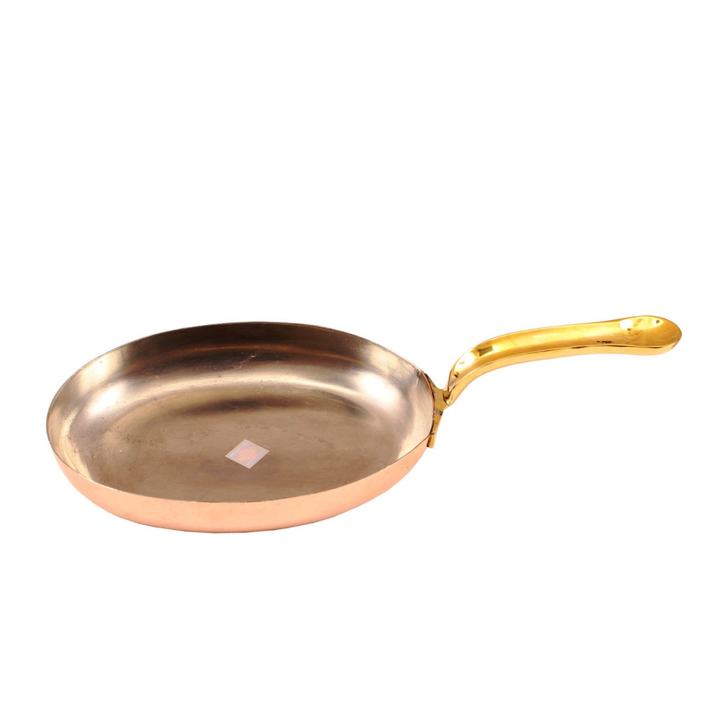 Steel Copper Plain Oval Pan Inside Tin Lining with Brass Handle