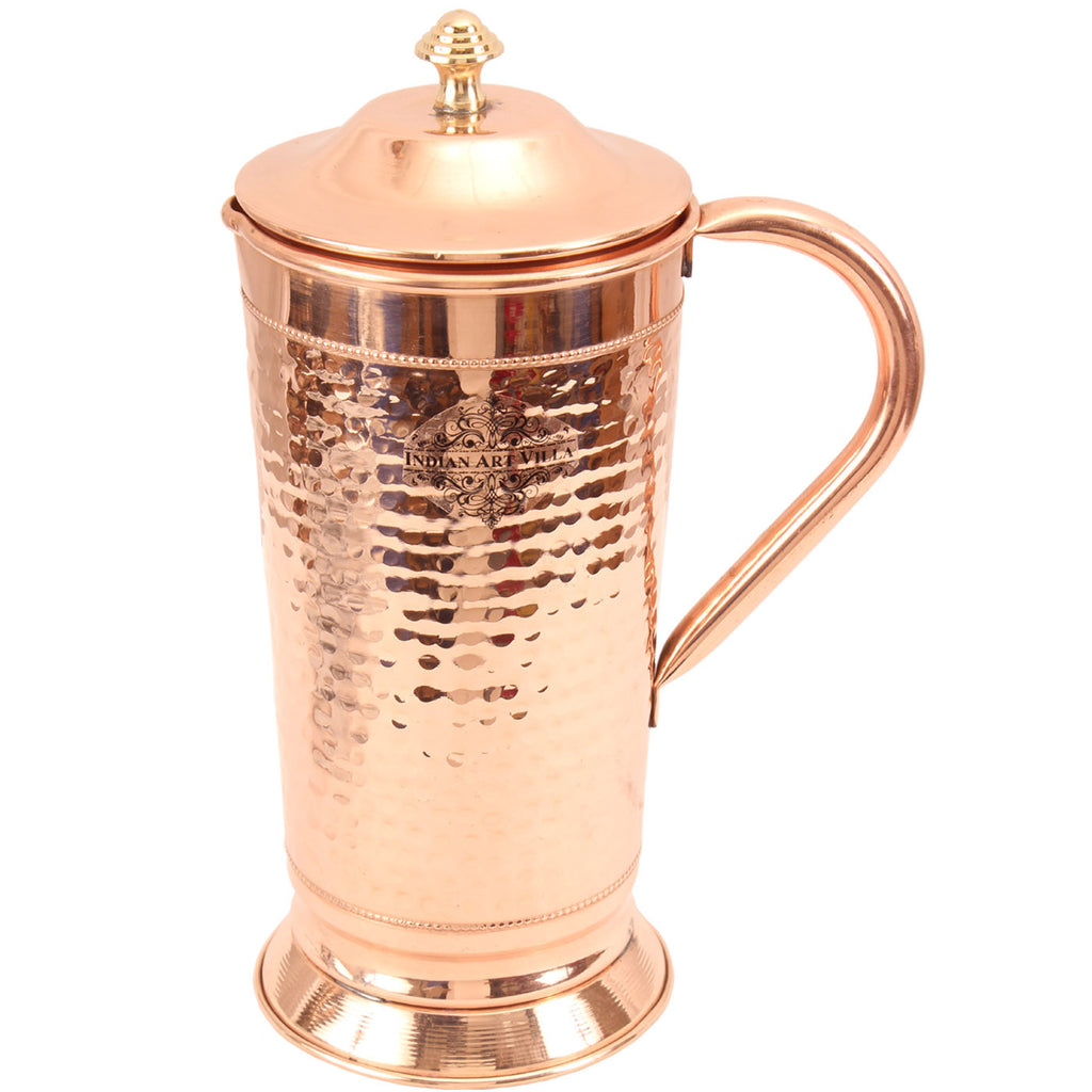 Pure Copper Jug, Hammered Design, Mughlai Jug with Bottom