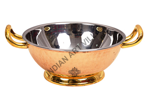 Steel Copper Handmade Hammered Kadhai with Brass Handle and Bottom