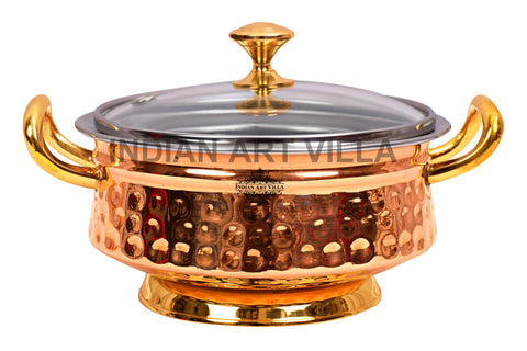 Steel Copper Hammered  Mughlai Handi with Brass Handle, Bottom and lid