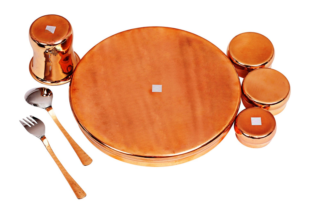 Steel Copper Curved Design Dinner Set