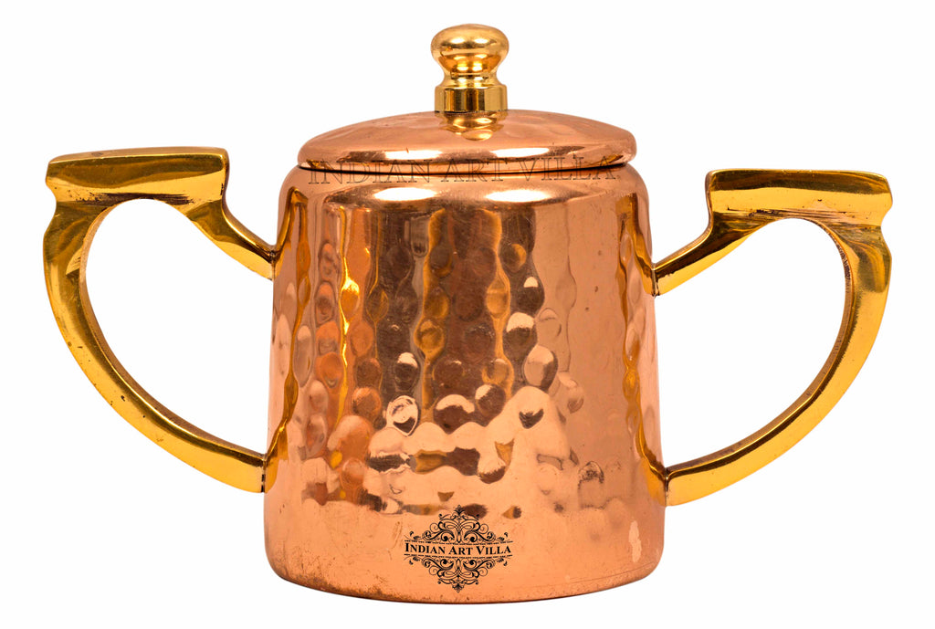 Copper Hammered Sugar Pot with Inside Tin Lining & Brass Handle