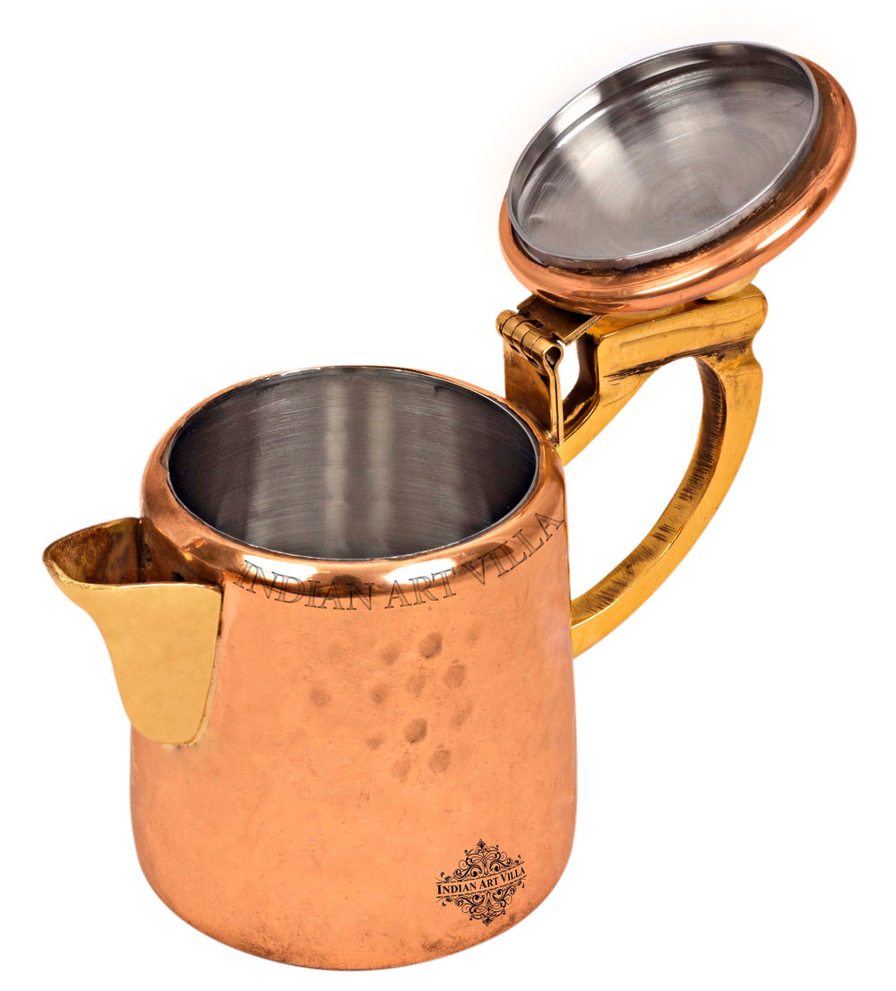 Copper Hammered Milk Pot with Inside Tin Lining  & Brass Handle