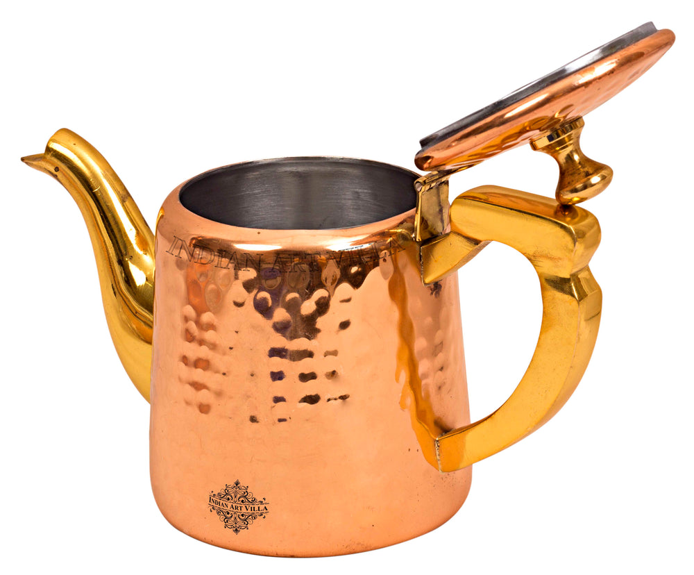 Copper Hammered Tea Pot with Inside Tin Lining & Brass Handle