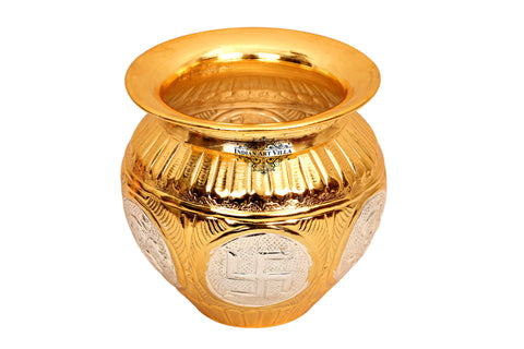 Copper Gold & Silver Polished Swastik Design Lota