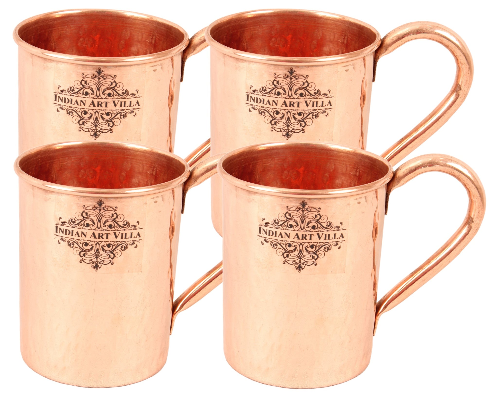 Copper Hammered Design Moscow Mule Beer Mug Cup 415 ML Set of