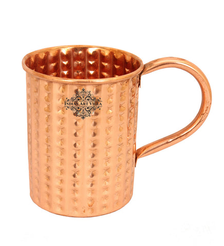 Pure Copper Daimond Mug Moscow Mule Cup 14Oz - Beer Cocktail Home Hotel Bar Restaurant