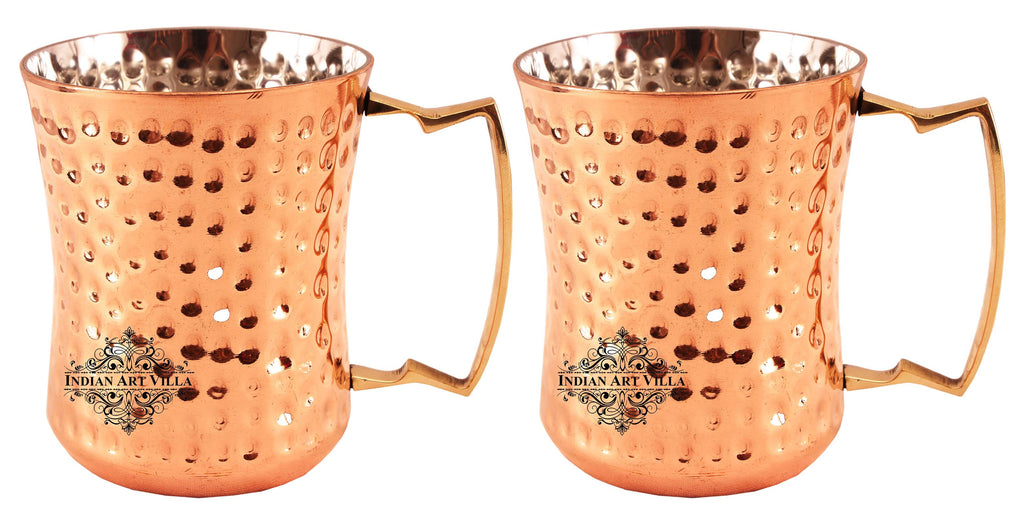 Steel Copper Hammered Design Round Curved Glass Tumbler