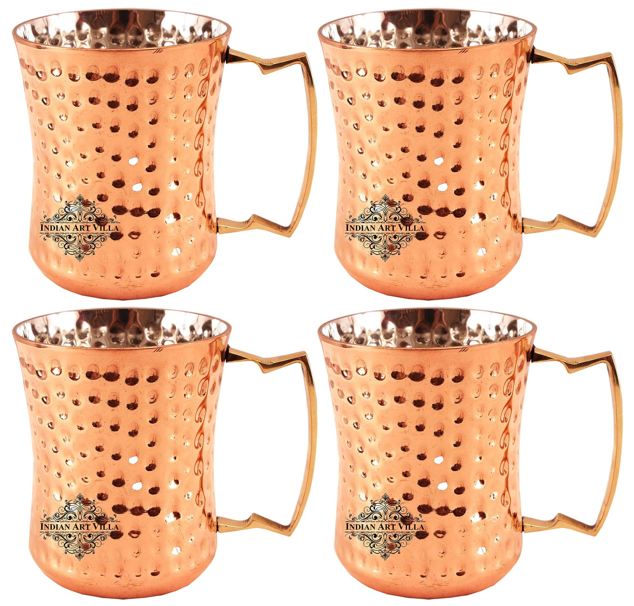 Steel Copper Hammered Design Round Curved Glass Tumbler Set of