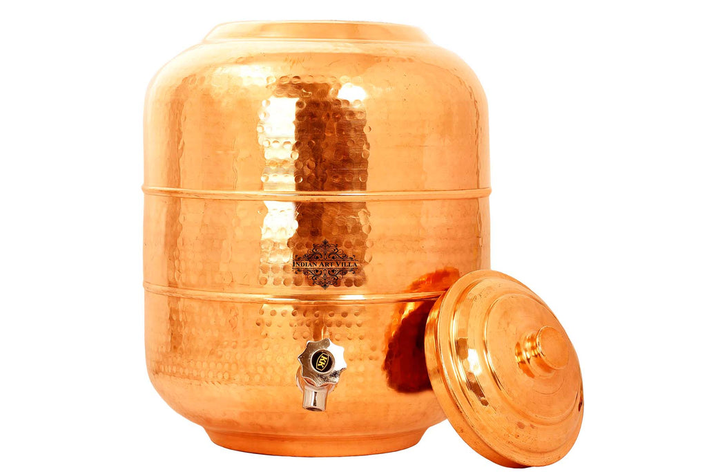 Copper Hammered Design Water Pot Container
