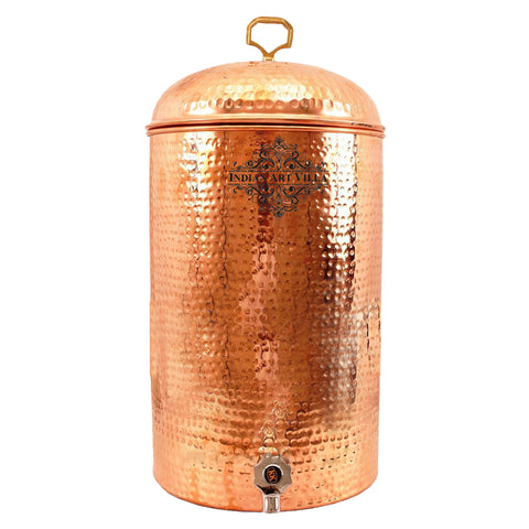 Pure Copper Handmade Hammered Design Flat Water Pot with Tap 12 Ltr.