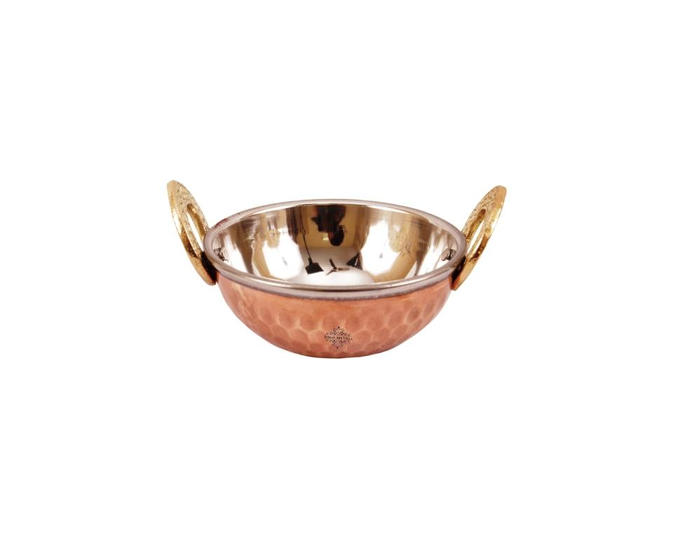 Steel Copper Hammered Design Kadhai Wok