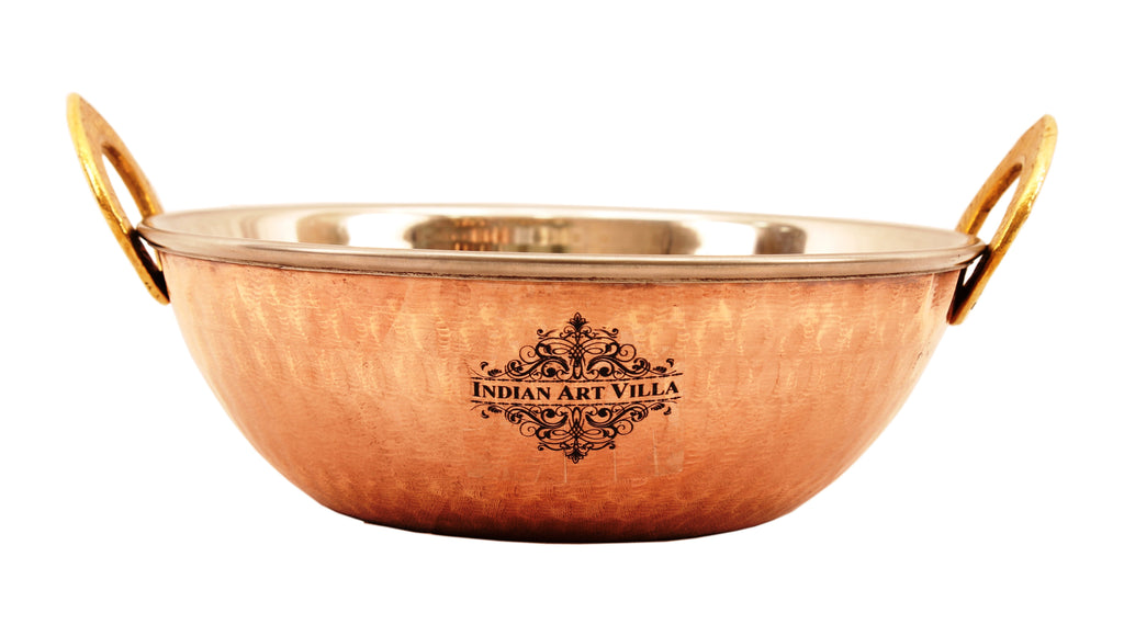 Steel Copper Hammered Design Kadhai