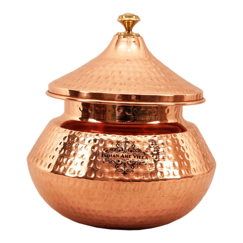 Steel Copper Serving Punjabi Handi with Lid 2250 ML for Serving Dishes