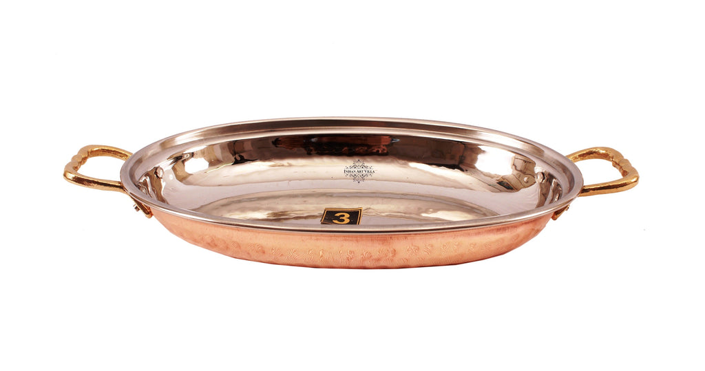 Steel Copper Dish Serving Oval Platter with Brass Handle