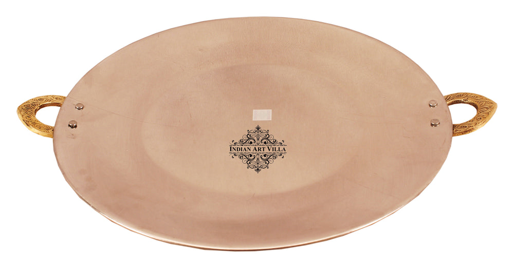 Steel Copper Hammered Design Serving Tawa Platter