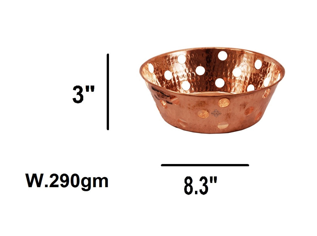 Copper Hammered Design Round Bread Serving Basket