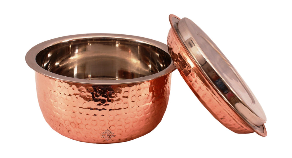 Steel Copper Hammered Design Casserole With Lid 1200 ML