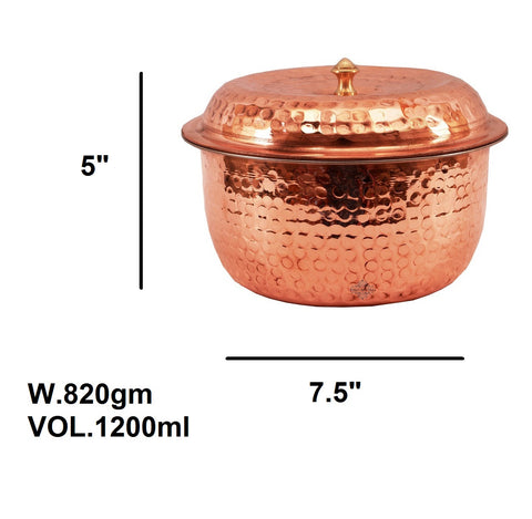 Steel Copper Casserole With Lid 1200 ML - Serving Dish - Restaurant Hotel Bar Home