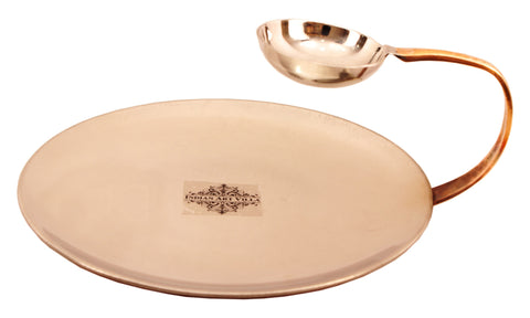Steel Copper Tawa with Attach Bowl 50 ML for Serving Dishes Vegetables