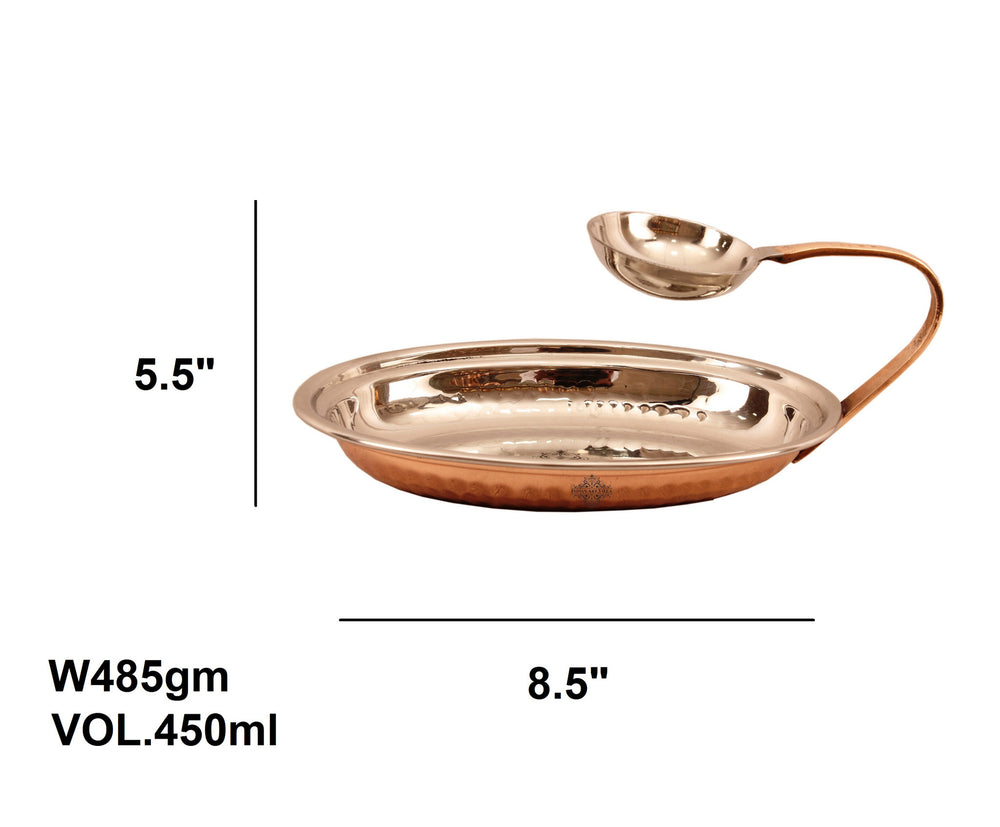 Steel Copper Serving Tawa with Attach Bowl