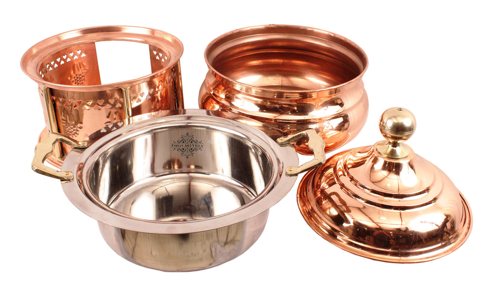 Copper Chaffing Dish with Coal Port Storage & Serving Food