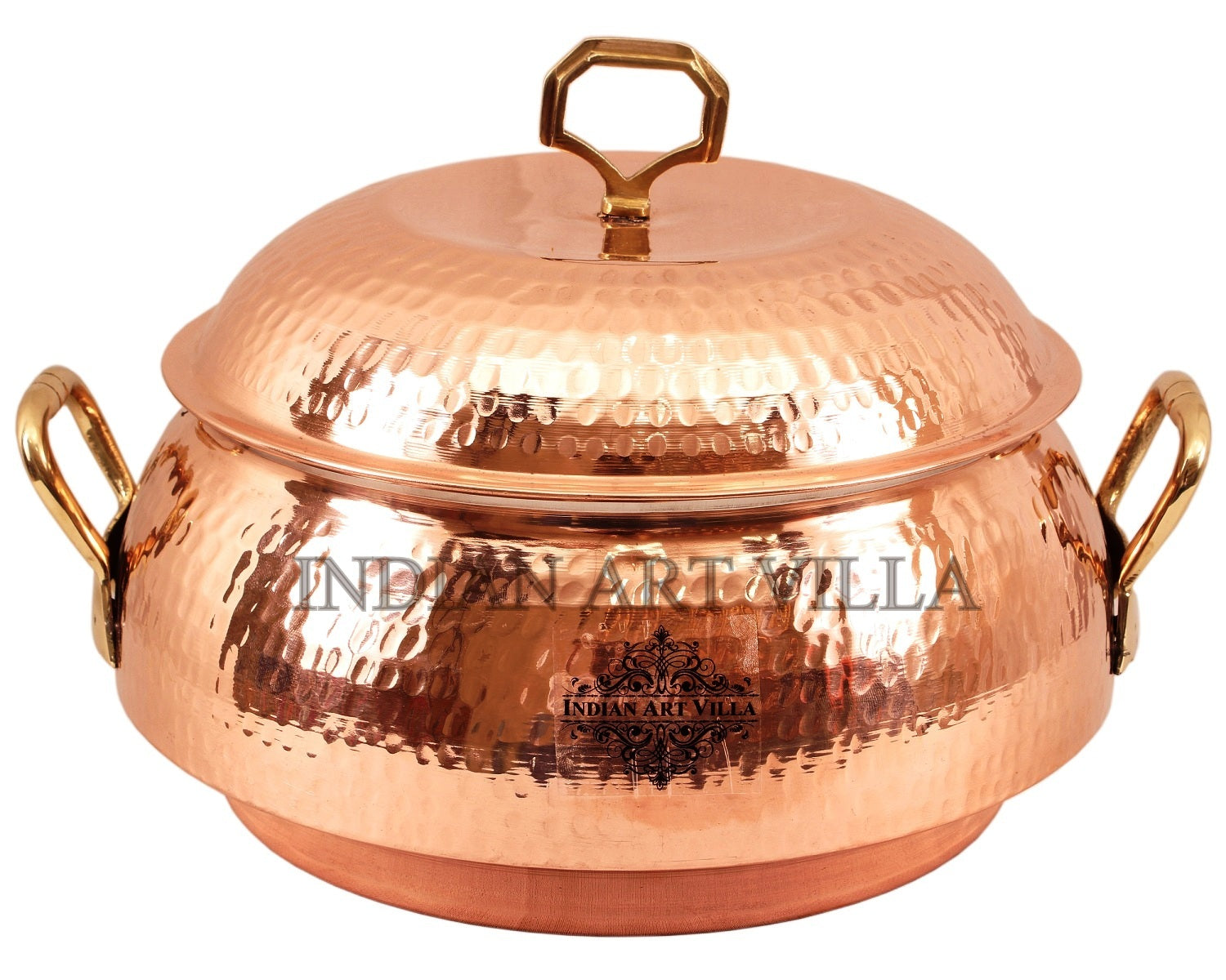 Steel Copper Hammered Design Big Casserole with Lid 2300 ML