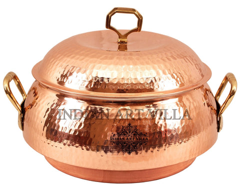 Steel Copper Casserole with Lid 2300 ML