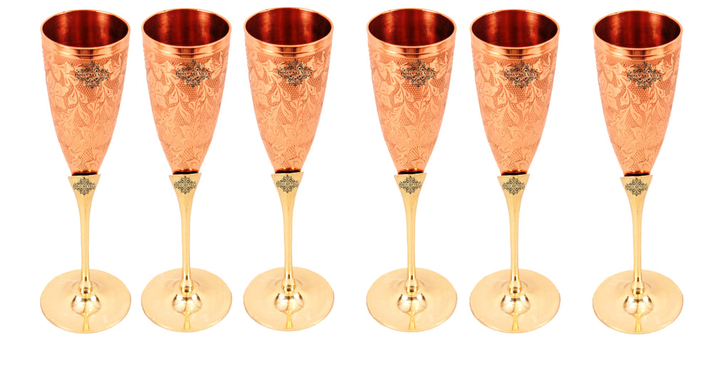 Copper Designer Champange Glass with Brass Stand Set of
