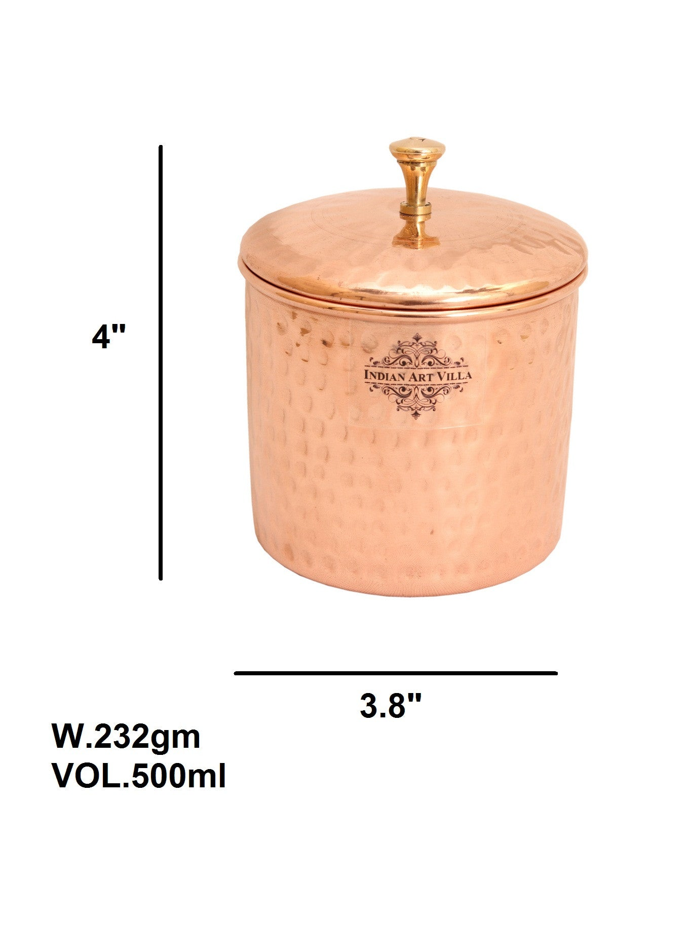 Copper Hammered Design Box Container