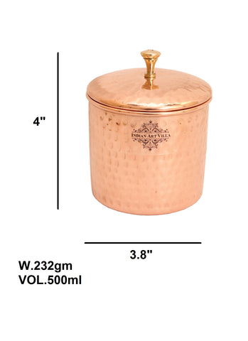 Handmade Pure Copper Hammered Box 500 ML - Gift Item