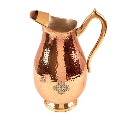 Pure Copper Handmade Royal Hammered Design Jug Pitcher with Tin Lining 2100 ML