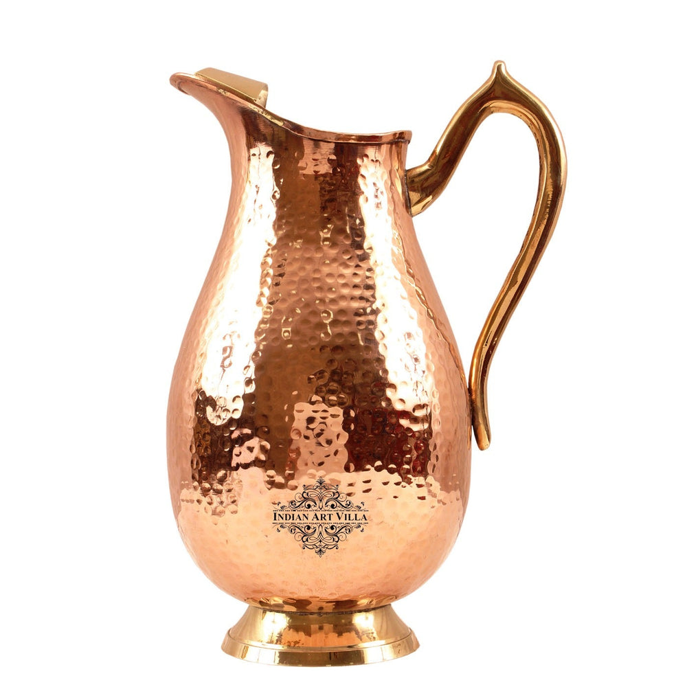 Pure Copper Jug, Royal Hammered Design, Pitcher with Tin Lining