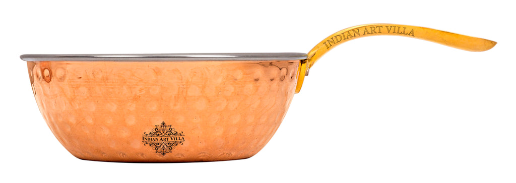 Steel Copper Hammered Serving Pan with Brass Handle