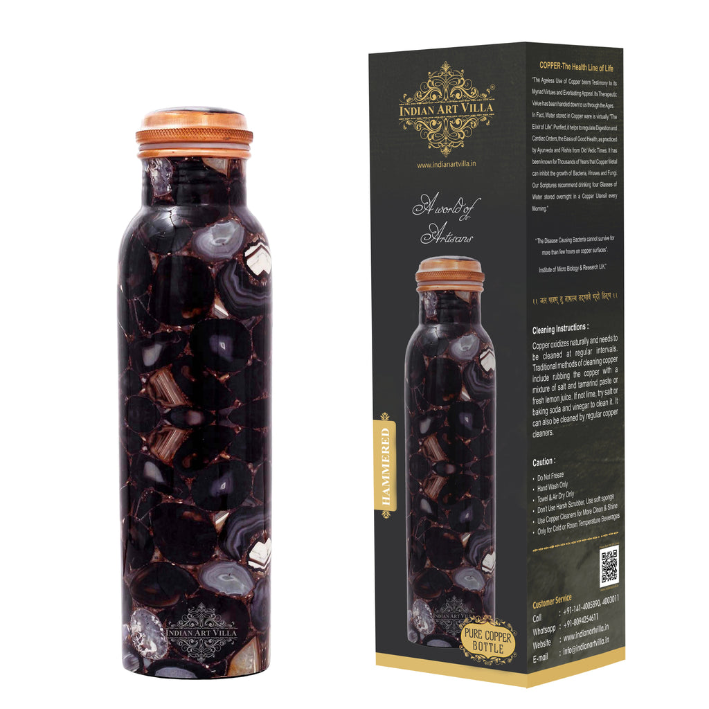 Pure Copper Water Bottle, Stone Marble Printed Design, Leak Proof, 1000 ML, Black