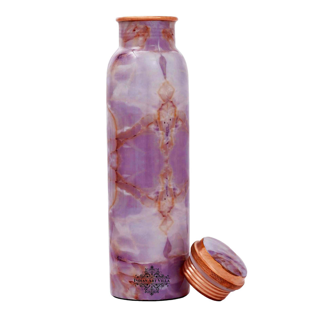 Pure Copper Water Bottle, Grenite Design, 1000 ML, Purple