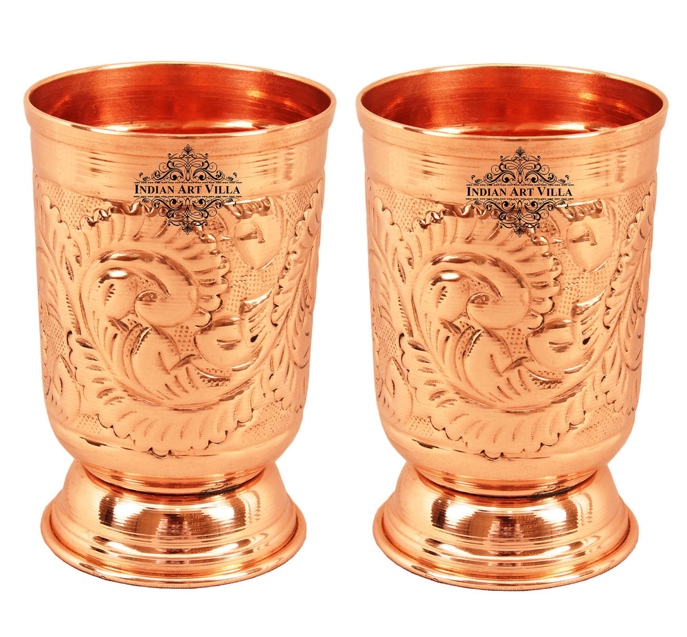 Copper Designer Glass with Bottom 350 ML Set of
