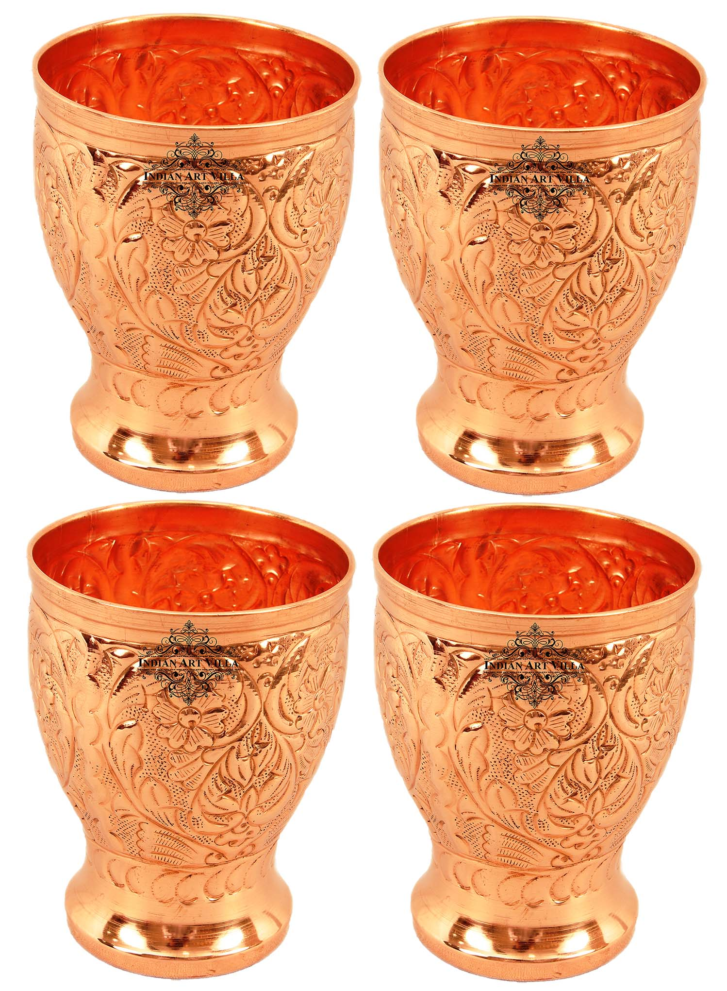 Copper Big Flower Design chauda Matha Glass Set of