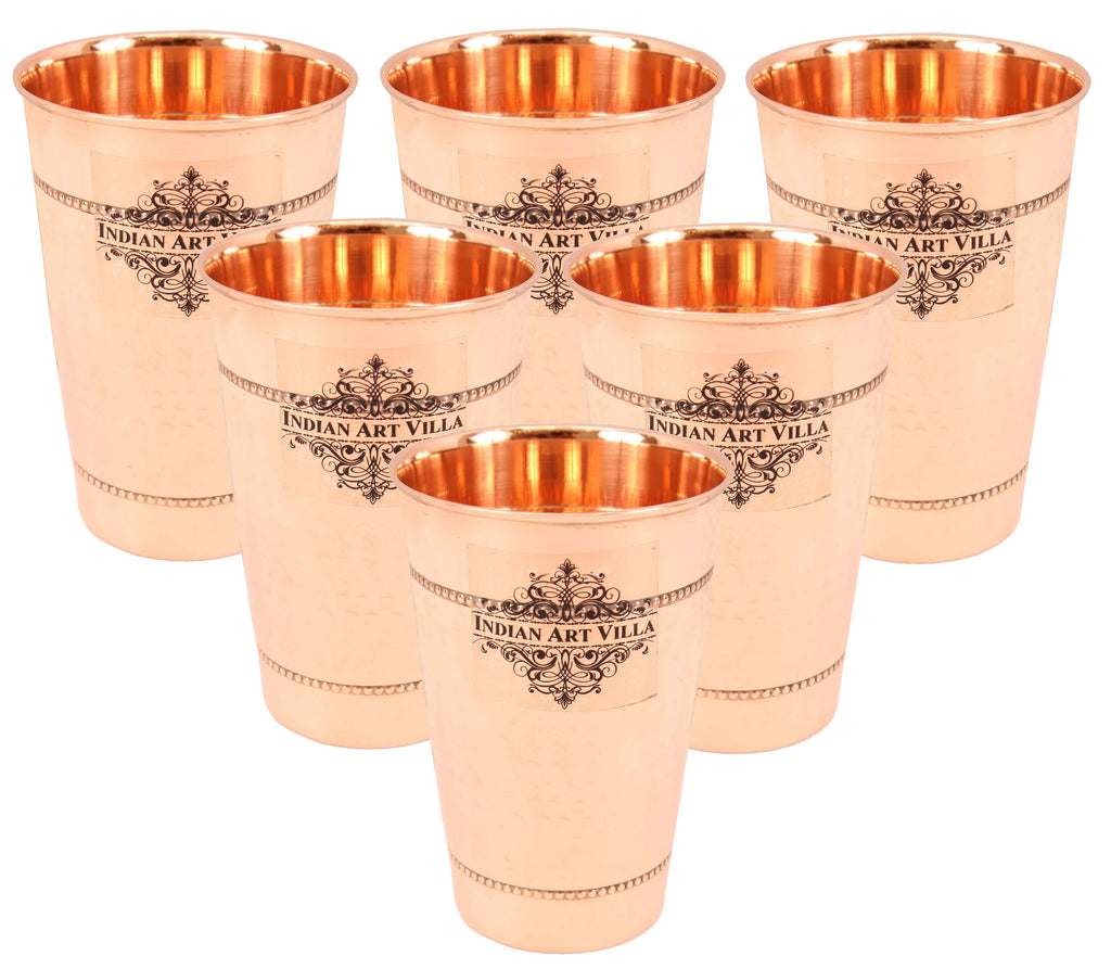 Copper  Hammered Design Glass with 2 Rings 400 ML Set of