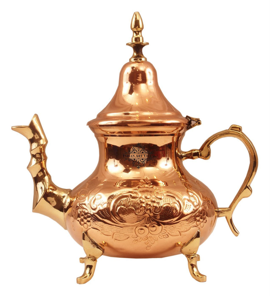 Copper Designer Mughlai Tea Pot with Inside Lining