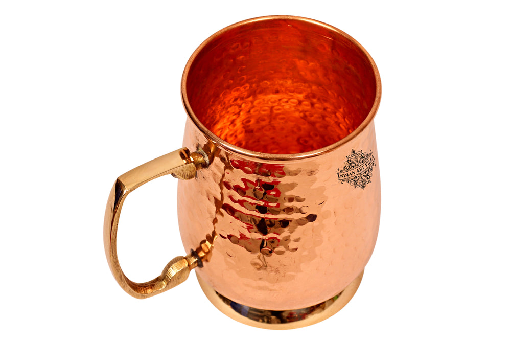 Copper Hammered Design Mug with Brass Handle & Bottom 600 ML