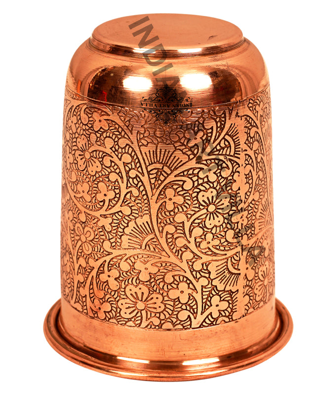 Copper Embossed Design Curved Glass Tumbler