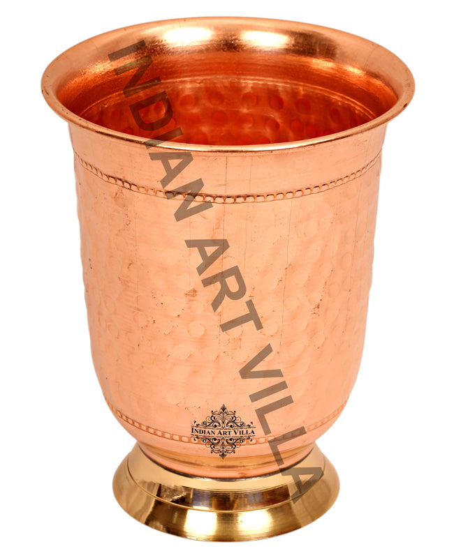 Copper Curved Hammered Design Glass Tumbler with Brass Bottom