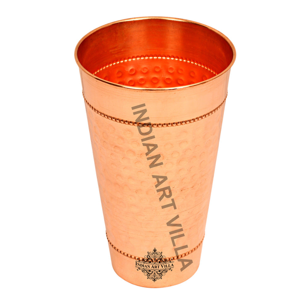 Copper Hammered Design Big Glass Tumbler with 2 Rings Set of