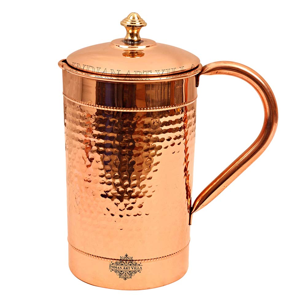 Pure Copper Jug, Hammered Design, Serving water Pitcher with Brass knob