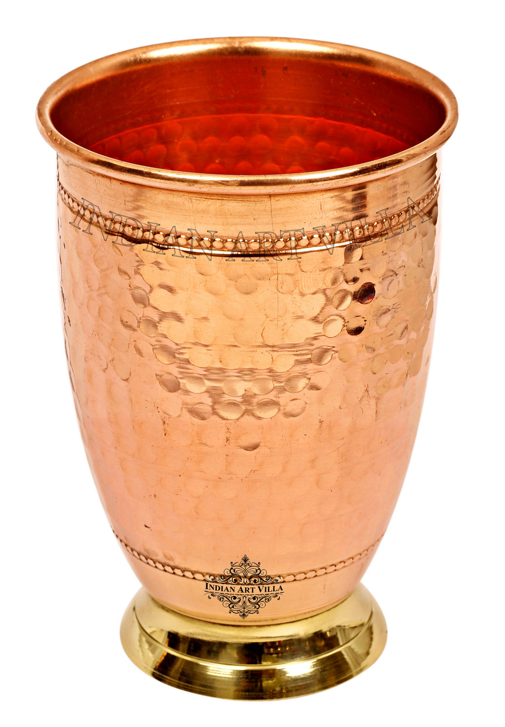 Copper Hammered Design Glass Tumbler With Brass Bottom