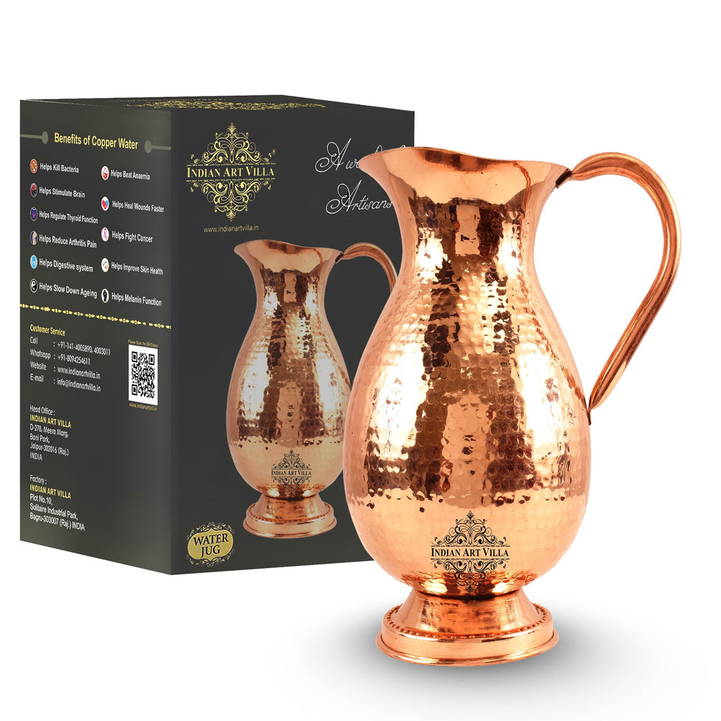 Pure Copper Jug, Hammered Mughlai Design, Jug Pitcher Serving water