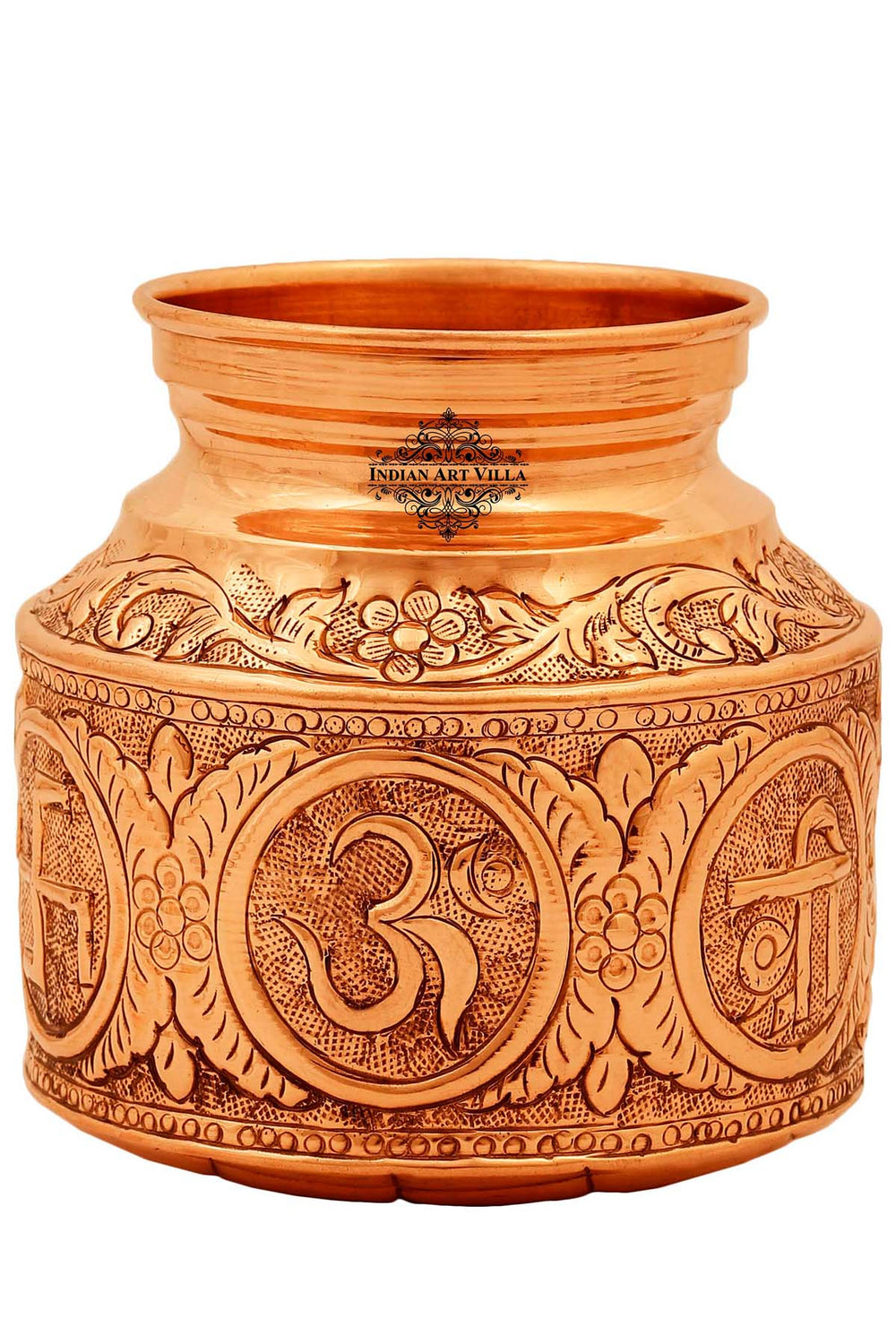 Copper Om Swastik Design Lota