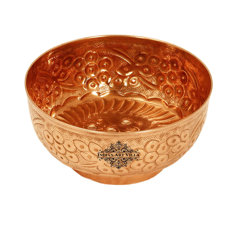 "Copper Embossed Flower Design Bowl Volume 580ml Diameter 5.6"" inch Brown"
