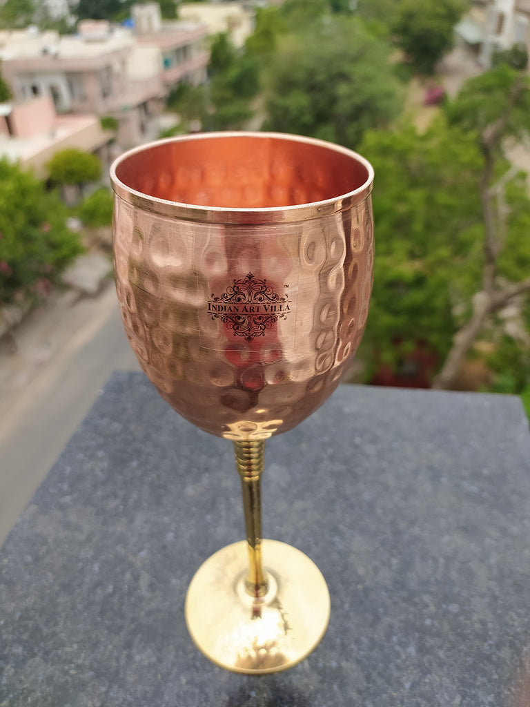 Handmade Hammered Best Quality Copper Brass Champagne Wine Glass 350 ML - Wine Bar Restaurant